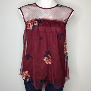 3/$15 Maurices burgundy floral flowy tank top XS